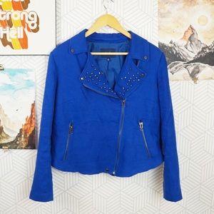 Eloquii Blue linen Lapel studded Moto blazer